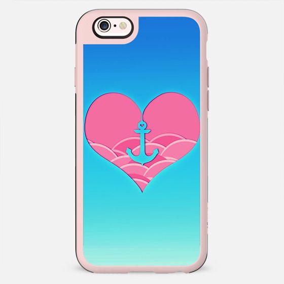 Trendy Heart anchor japanese waves artistic design