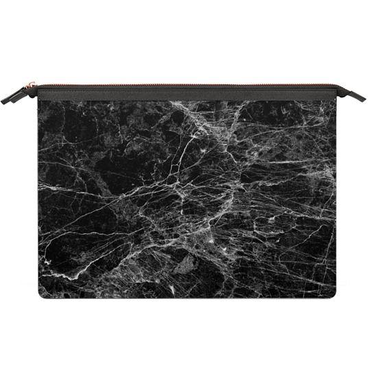MacBook 12 Sleeves - Trendy Black and White Marble Stone Pattern