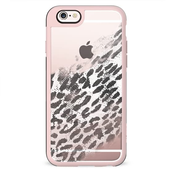 Black and White Leopard Animal Print Fade on Transparent Background