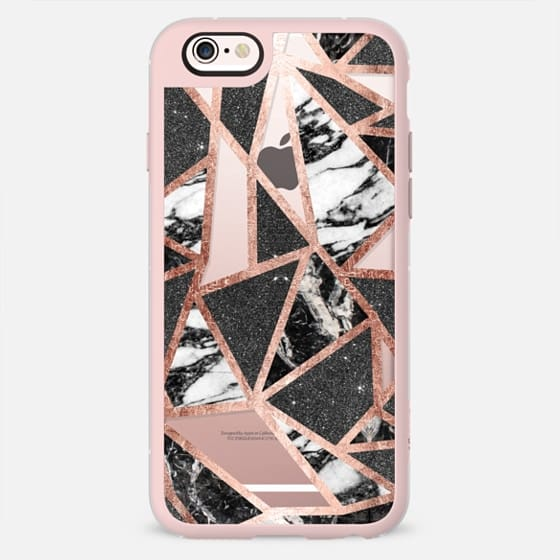 Modern Geometric Triangles in Faux Rose Gold Glitter and Black and White Marble- Transparent