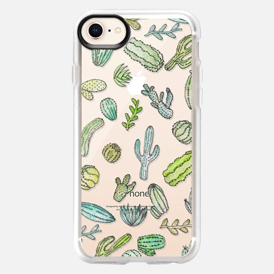 Cute Hand Painted Watercolor Green Succulent Cactus Plants Pattern- Transparent - Snap Case