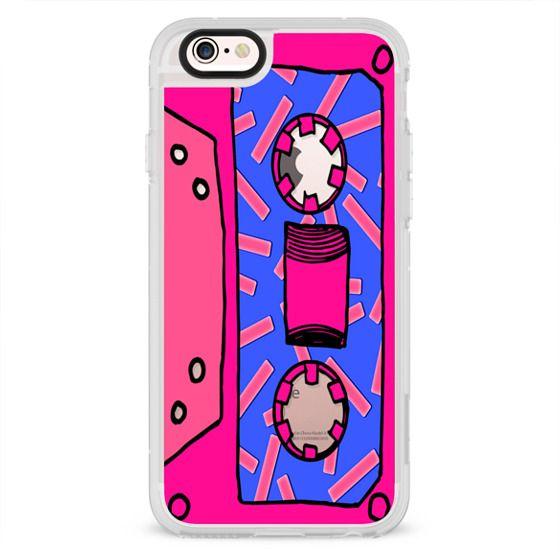 new arrival 8b4dd 0a0d0 Classic Snap iPhone SE Case - Girly Neon Pink Purple Confetti 80's 90's  Retro Cassette Tape- Transparent