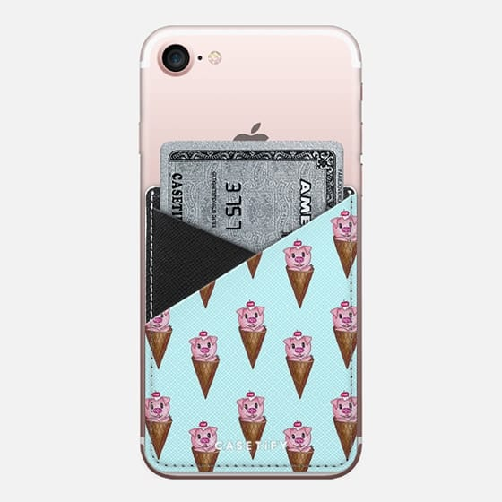 Cute Pink Piggy Ice Cream Cone with Cherry on Top on Pale Blue - Saffiano Leather Phone Wallet