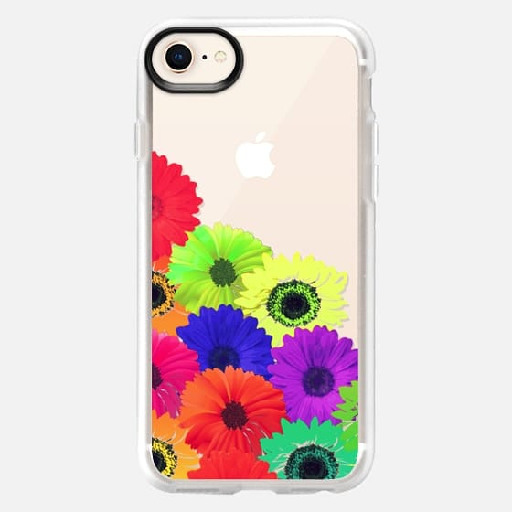 Bright Neon Colorful Flowers Pattern Collage on Transparent Background - Snap Case