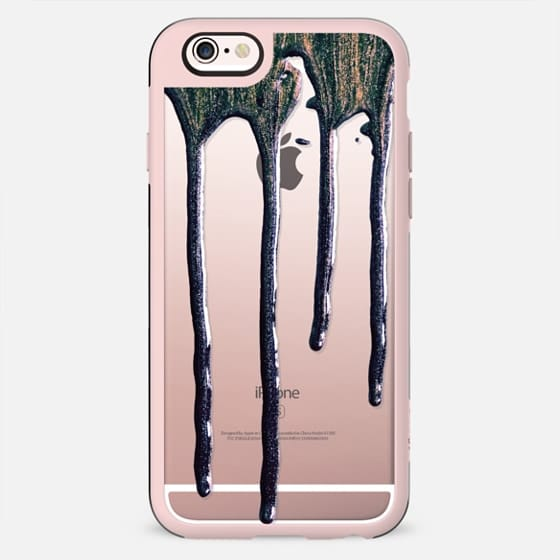 Raven Black & Gold Paint Drips on Transparent Background - New Standard Case