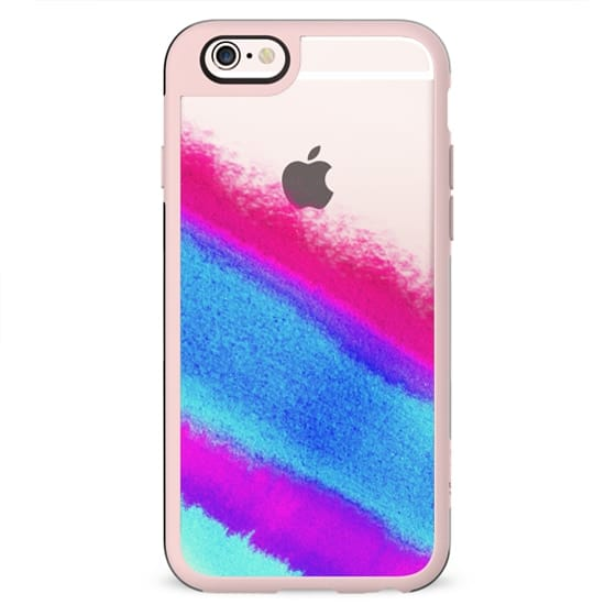 Purple, Blue, Teal, and Pink Girly Watercolor Paint on Transparent Background
