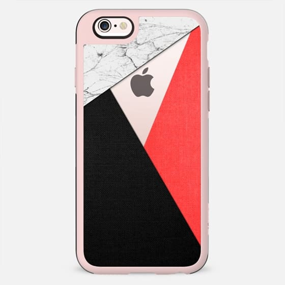 White Marble with Coral Red and Black Tri-Cut Fabric - New Standard Case