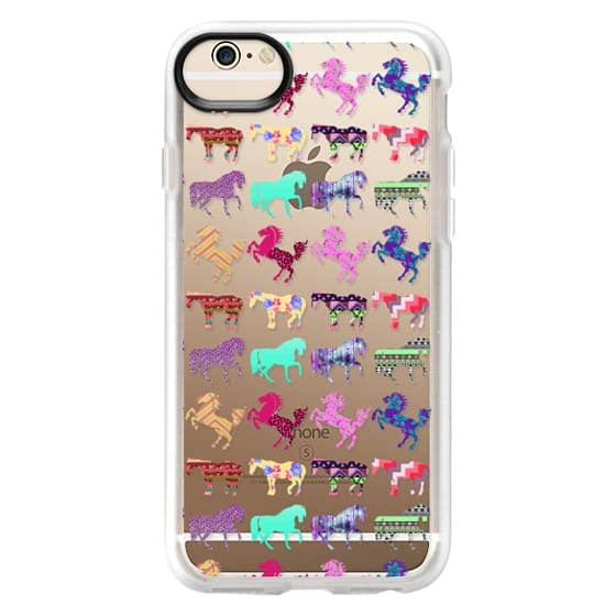 iPhone Se Cases - Funky Cool Trendy Pattern Horses on Transparent