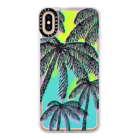 iPhone XS Max Cases - Teal Pink Black Summer Tropical Palm Trees