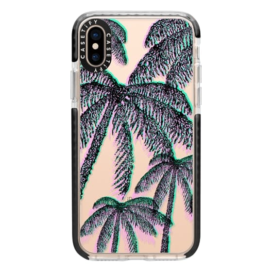 iPhone XS Cases - Teal Pink Black Summer Tropical Palm Trees