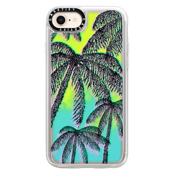 iPhone 8 Cases - Teal Pink Black Summer Tropical Palm Trees