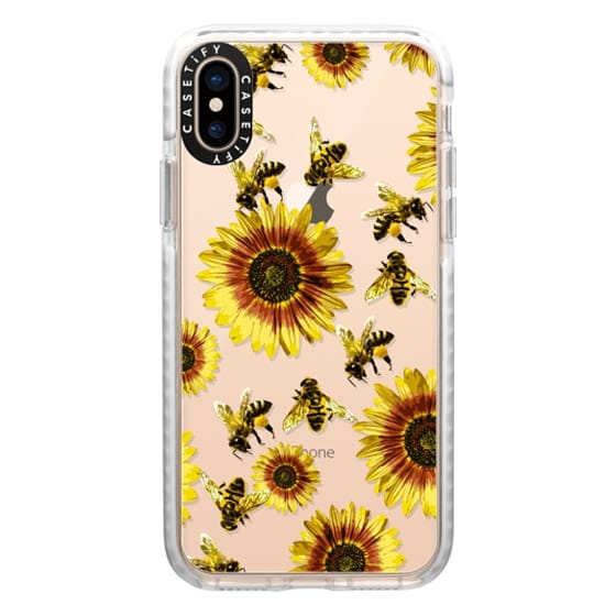 iPhone XS Cases - Summer Bright Yellow Sunflower Flowers and Honey Bees Pattern- Transparent