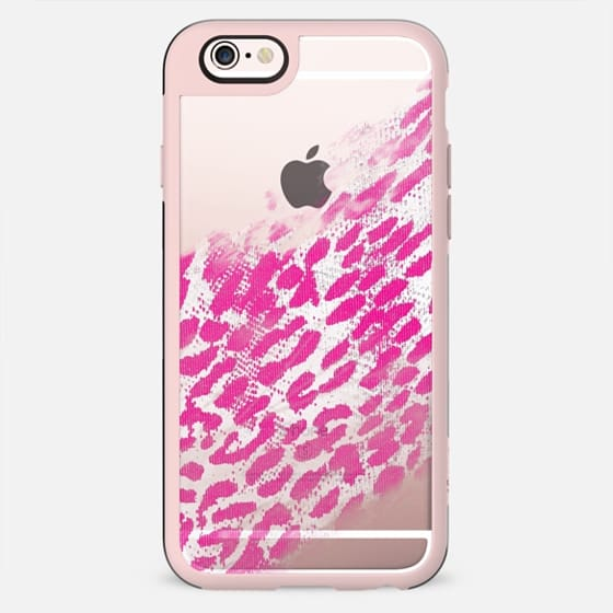 Pretty Pink and White Leopard Animal Print Fade on Transparent Background