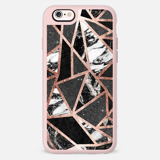 Modern Geometric Triangles in Faux Rose Gold Black Foil Glitter and Black and White Marble -
