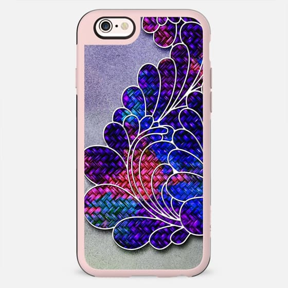 Trendy Neon Colorful Pink Purple and Blue Basket Weave Floral on Paper Texture Image