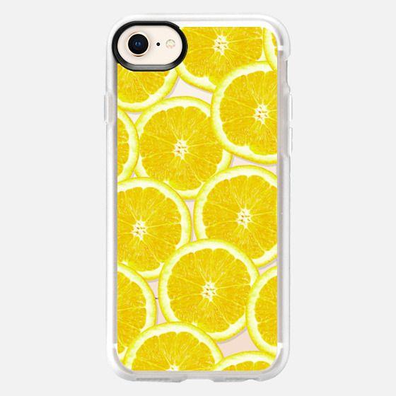 Refreshing Fruity Citrus Yellow Lemons Summer Pattern on Transparent Background - Snap Case