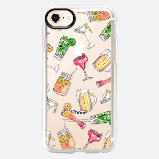 Summery Watercolor Mixed Drinks Daiquiri Martini Mojito Ice Tea Beer Fruity Drink - Transparent - Snap Case
