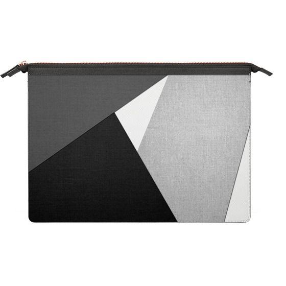 MacBook 12 Sleeves - Black, White, and Grey Tri-Cut Fabric