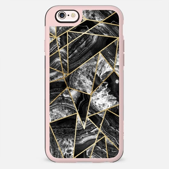 Black and White Agate Geode Faux Gold Outlined Geometric Triangles - New Standard Case