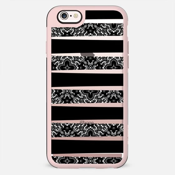 Black and White Damask Pattern Stripes on Transparent Background - New Standard Case