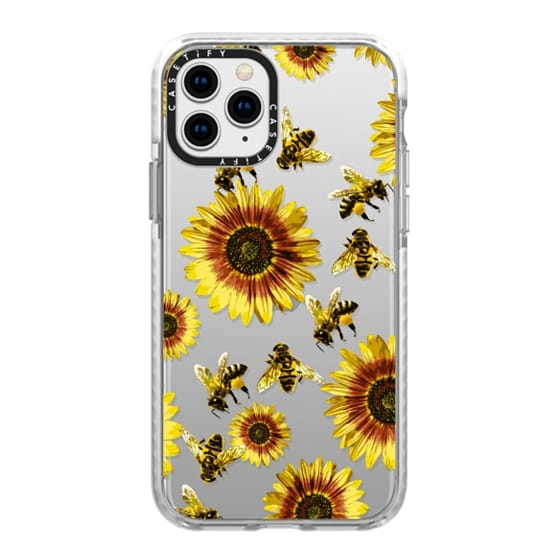 iPhone 11 Pro Cases - Summer Bright Yellow Sunflower Flowers and Honey Bees Pattern- Transparent