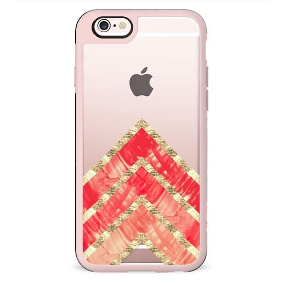 Red Watercolor Paint and Vintage Faux Gold Chevron Zigzag Triangles Pattern on Transparent
