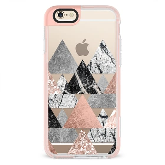 Modern Elegant Floral Faux Rose Gold and Silver and Black and White Marble Geometric Triangles- Transparent
