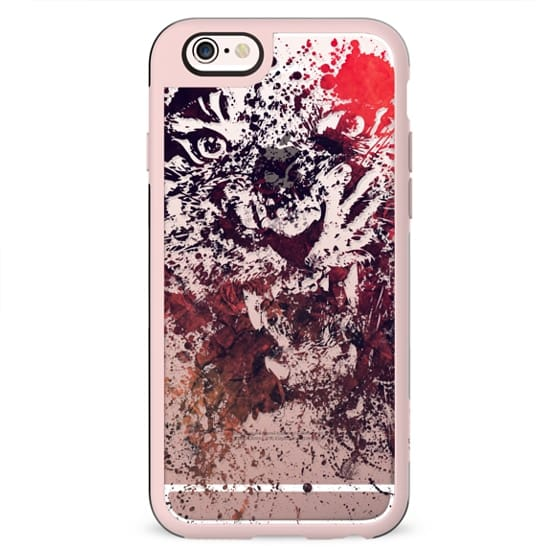 Trendy Multicolored Paint Splatter Transparent Angry Tiger