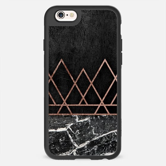Elegant Chic Faux Printed Rose Gold Geometric Triangles and Black & White Marble on Black Foil -