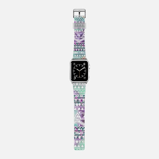 Cool Elegant Floral and Watercolor Painted Teal and Purple Tribal Aztec Pattern -