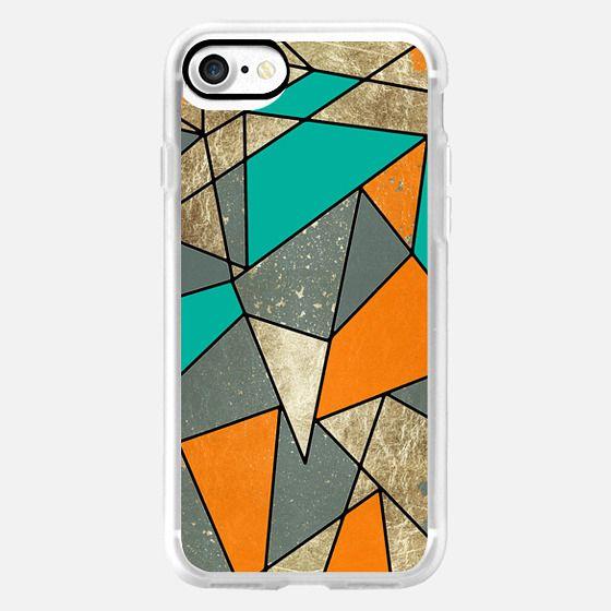 Modern Rustic Faux Gold Teal and Orange Fall Geometric Pattern -