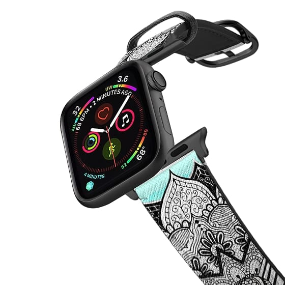 Apple Watch 38mm Bands - Black and White Bohemian Tangle Elephant and Mandala Hand Drawing on Neon Teal