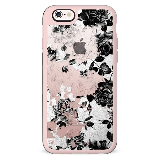 Black and White Roses Flowers Pattern in Crackling Paint on Transparent Background