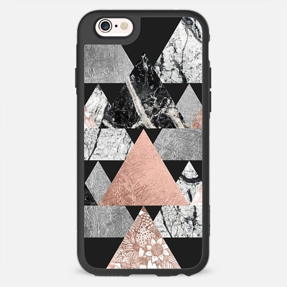 Modern Elegant Floral Faux Rose Gold and Silver and Black and White Marble Geometric Triangles on Black   - New Standard Case
