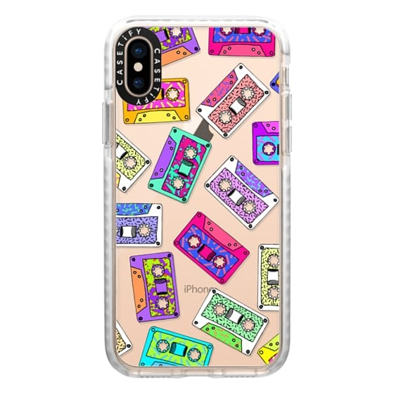 iPhone XS Cases - Retro Throwback 80's 90's Neon Cassette Tapes with Doodles and Patterns- Transparent