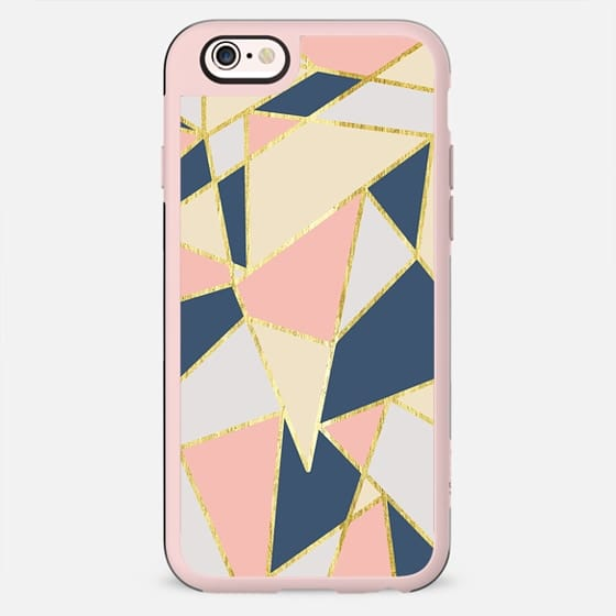 Elegant Pink, Blue, Beige, & White Girly Geometric Triangles Pattern- Gold Edition - New Standard Case