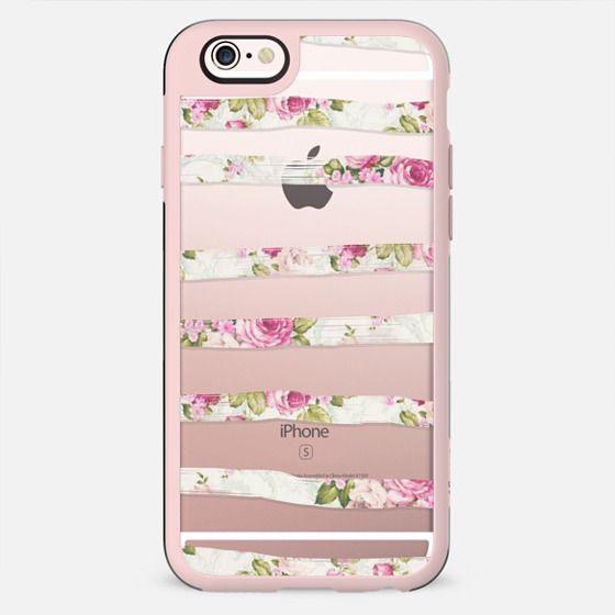 Cool Trendy Vintage Pink Floral Print Pattern Painted Stripes - New Standard Case