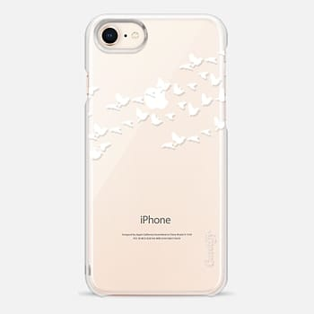 iPhone 8 Case Modern White Birds on Transparent Background