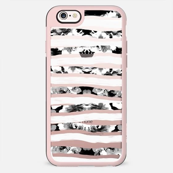 Modern Elegant Black and White Floral Painted Stripes Pattern on Transparent - New Standard Case