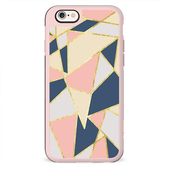 Elegant Pink, Blue, Beige, & White Girly Geometric Triangles Pattern- Gold Edition