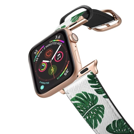 Apple Watch 42mm Bands - Tropical Green Watercolor Painted  Swiss Cheese Plant Leaves