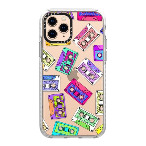 iPhone 11 Pro Cases - Retro Throwback 80's 90's Neon Cassette Tapes with Doodles and Patterns- Transparent