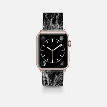 Leather Watch Band -  Modern Trendy Black and White Marble Stone Pattern
