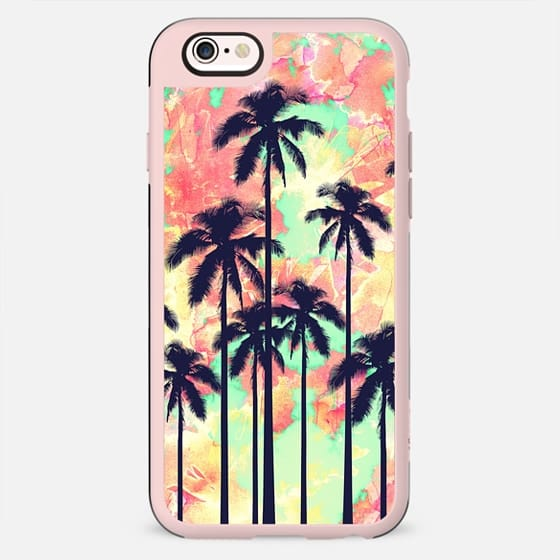 Tropical Summer Palm Trees Watercolor Paint Clouds in Orange, Green, and Red - New Standard Case