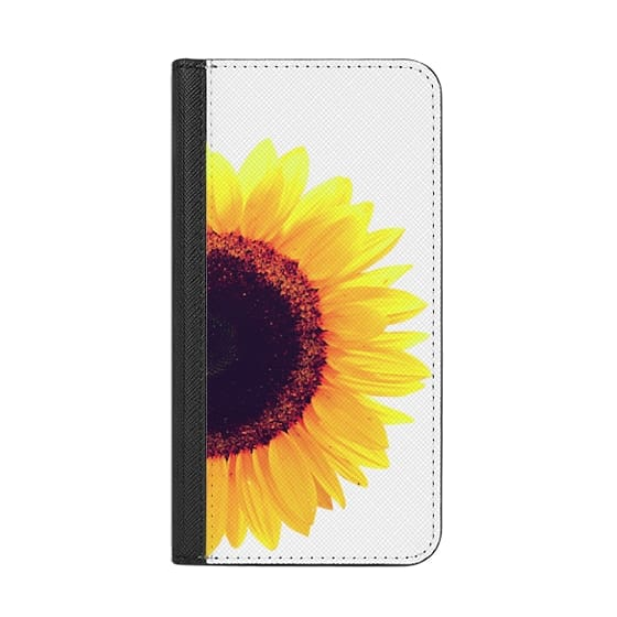 Wallet iPhone 8 Case with RFID - Bright Yellow Summer Sunflower Flowers on  Transparent Background
