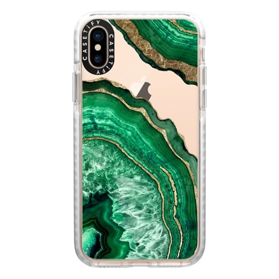 iPhone XS Cases - Jade Green Faux Gold Rustic Abstract Linear Geometric Triangles Pattern on Transparent Background