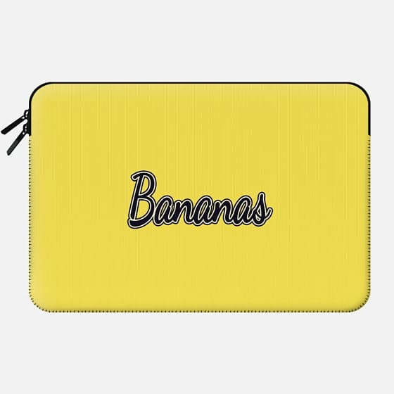 """""""Bananas"""" Typography on Yellow - Macbook Sleeve"""