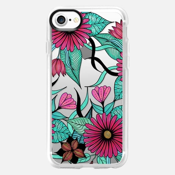 Girly Pink Teal and Black Floral Illustrations - Classic Grip Case