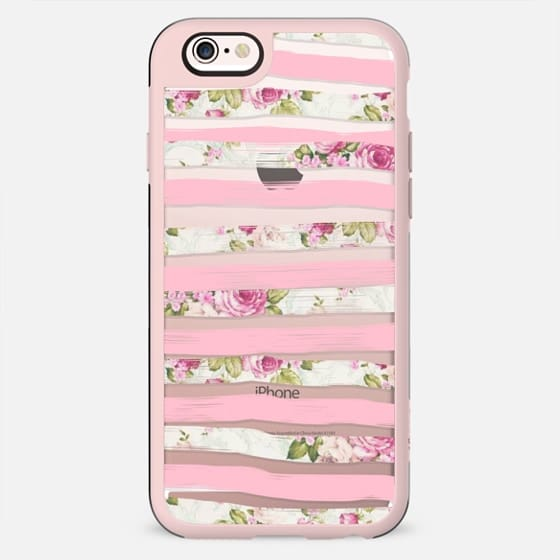 Elegant Pretty Pink Vintage Floral Print and Solid Pink Brushed Stripes -