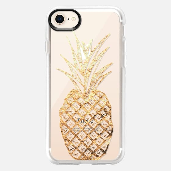 Faux Gold Leaf Fruity Summer Pineapples on Transparent Background - Snap Case